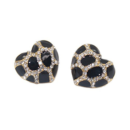 Heart Stud Earrings with Studded CZ Diamond Pattern - Rose Gold Plated with Black - Pop Fashion