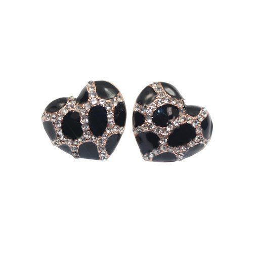 Heart Stud Earrings with Studded CZ Diamond Pattern - Rose Gold Plated with Black - Pop Fashion - Pop Fashion