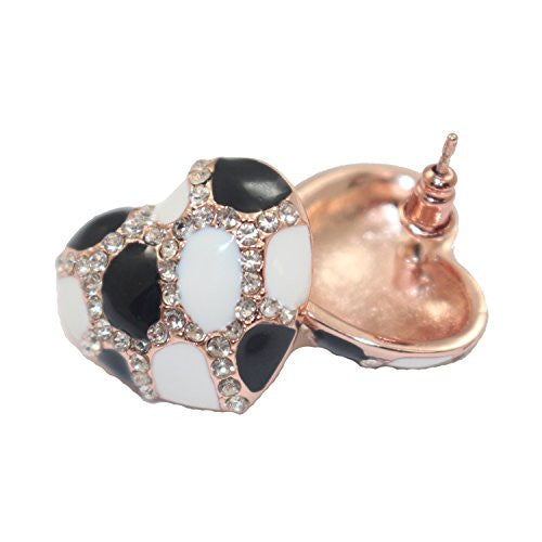 Heart Stud Earrings with Studded CZ Diamond Pattern - Rose Gold Plated with Black and White - Pop Fashion