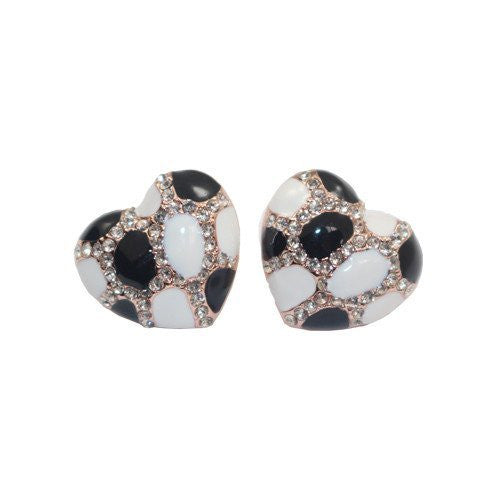 Heart Stud Earrings with Studded CZ Diamond Pattern - Rose Gold Plated with Black and White - Pop Fashion - Pop Fashion