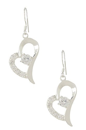 Heart Drop Earrings with Center CZ Diamond and Accent Stones - Pop Fashion