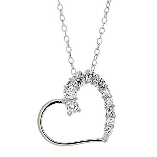 Silvertone Heart Pendant with Cubic Zirconia Diamonds - Open Heart Necklace - Pop Fashion