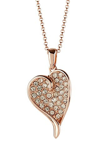 Rose Gold Plated Pendant Necklace with Heart Shaped CZ Studded Pendant - Pop Fashion