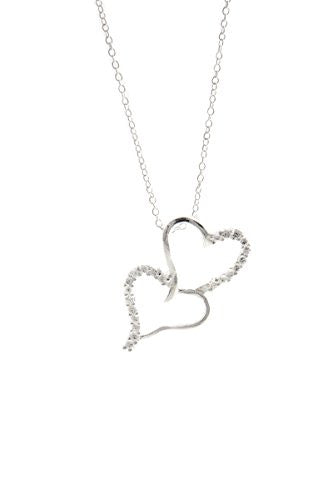 Silvertone Heart Pendant Necklace, Double Open Hearts CZ Necklace - Pop Fashion Jewelry - Pop Fashion