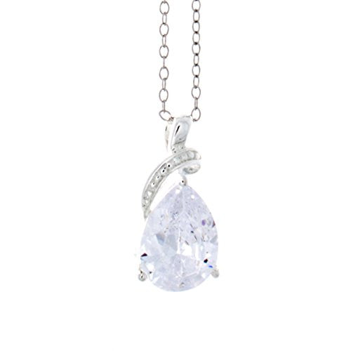 Silvertone Teardrop Cubic Zirconia Stone Pendant - Pear Shape - Pop Fashion