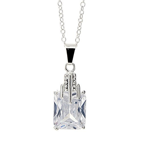 Pop Fashion Silvertone Square Princess Cut CZ Stone Pendant Necklace - Pop Fashion