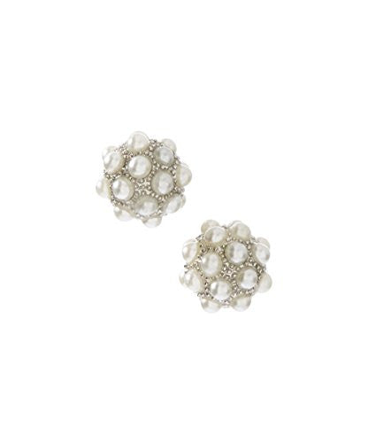 Silvertone Circular Round Stud Earrings with Small Pearl Detailing - Pop Fashion