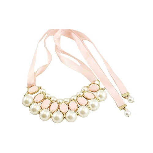 Satin Ribbon Necklace with Gem Beads and Faux Pearls - Pink and Pearl - Pop Fashion