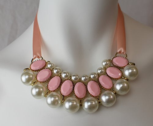 Satin Ribbon Necklace with Gem Beads and Faux Pearls - Pink and Pearl - Pop Fashion - Pop Fashion