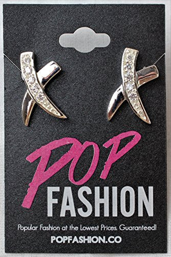 Statement Earrings, Silver Plated Criss Cross X Earrings with Jewelry Fashion Earrings Style - Pop Fashion