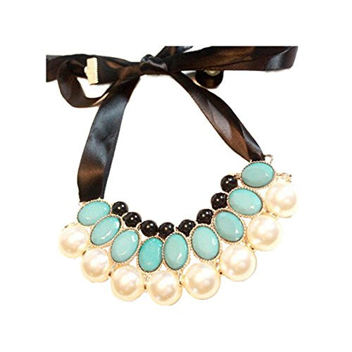 Satin Ribbon Necklace with Gem Beads and Faux Pearls - Teal&Pearl - Pop Fashion