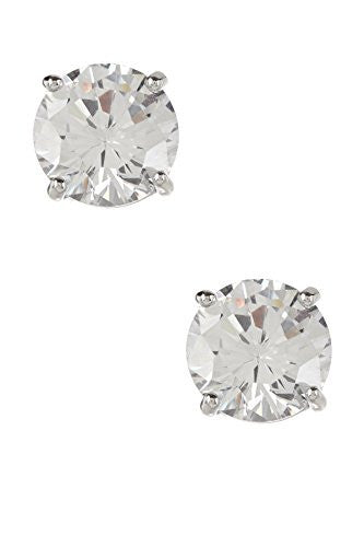 2CT Silvertone Stud Earrings, Silvertone Earrings for Women, Designer Inspired Jewelry CZ Earrings