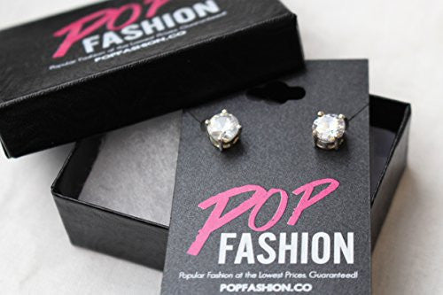 2CT Silvertone Stud Earrings, Silvertone Earrings for Women, Designer Inspired Jewelry CZ Earrings - Pop Fashion