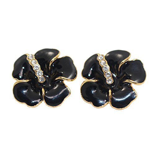 Black Flower Stud Earrings - Flowering Stud Earrings with CZ stones - Pop Fashion