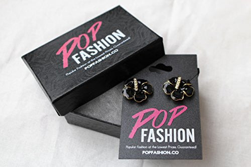Black Flower Stud Earrings - Flowering Stud Earrings with CZ stones - Pop Fashion - Pop Fashion