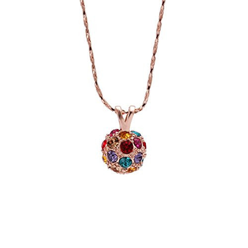 Pop Fashion Rose Gold Plated Crystal Stone Pendant Necklace with Chain