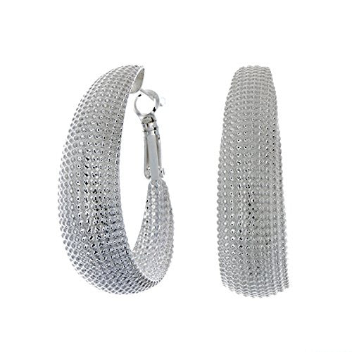 Pop Fashion Large Lightweight Silvertone Hoop Earrings with Butterfly Backing - Amazon Prime