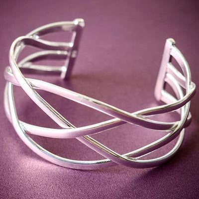 Silver Cuff Bracelets, Bangle Bracelet with Designer Inspired Jewelry Woven Style - Pop Fashion