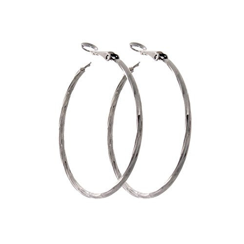 Pop Fashion Large Silvertone Drop Hoop Earrings for Women, Fashion Jewelry, Gift Box
