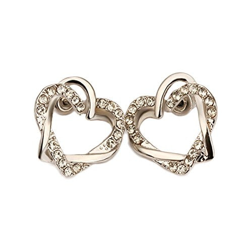 Silvertone Interlocking Open Dual Heart Duo Earrings with Cubic Zirconia Stones - Pop Fashion