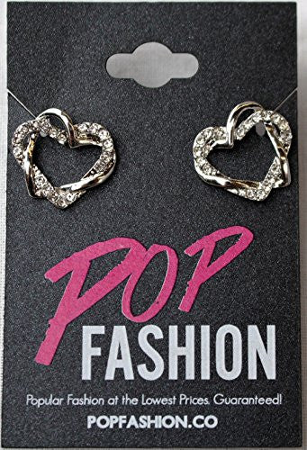 Silvertone Interlocking Open Dual Heart Duo Earrings with Cubic Zirconia Stones - Pop Fashion - Pop Fashion