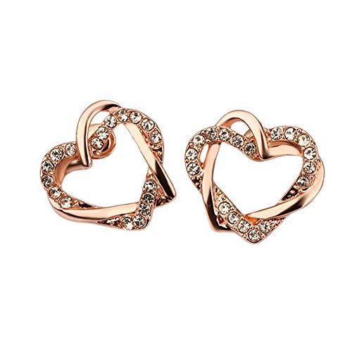 Rose Gold Plated Interlocking Open Dual Heart Duo Earrings with Cubic Zirconia Stones - Pop Fashion