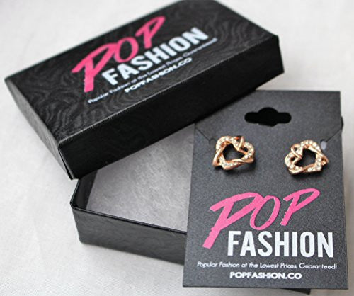 Rose Gold Plated Interlocking Open Dual Heart Duo Earrings with Cubic Zirconia Stones - Pop Fashion - Pop Fashion