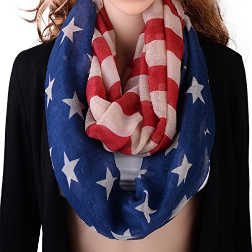 Pop Fashion American Flag Infinity Scarf - USA Scarves - Red, Beige, & Blue Scarf