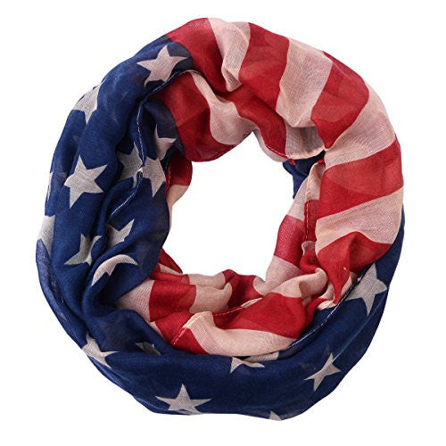 Pop Fashion American Flag Infinity Scarf - USA Scarves - Red, Beige, & Blue Scarf - Pop Fashion