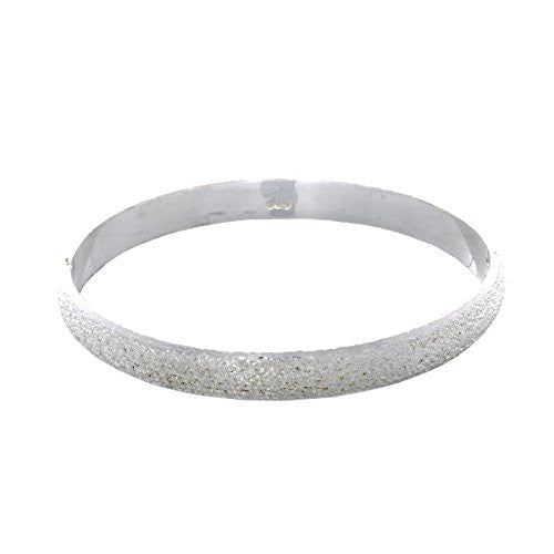 Pop Fashion Silvertone Circle Bangle Bracelet with Shiny Texture and Jewelry Gift Box