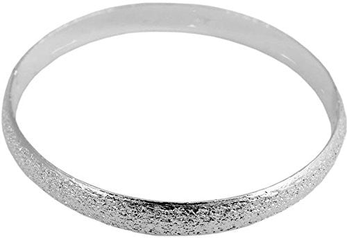 Pop Fashion Silvertone Circle Bangle Bracelet with Shiny Texture and Jewelry Gift Box - Pop Fashion