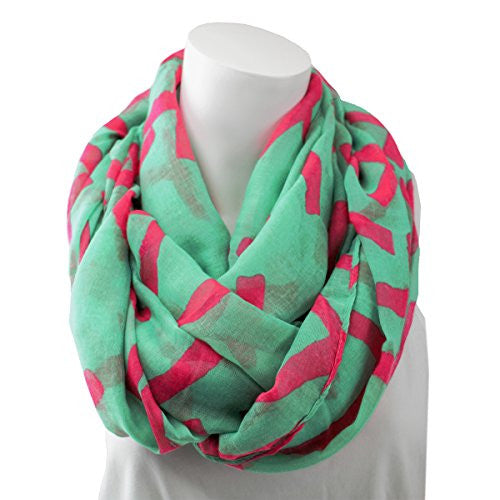 Women's Trendy Teal with Pink Cross Print Infinity Scarf