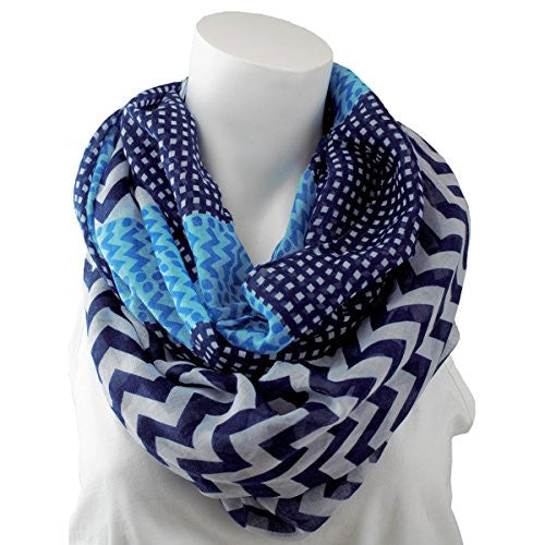 Women's Multi Pattern Blue and Navy Chevron Infinity Scarf with Dots - Pop Fashion