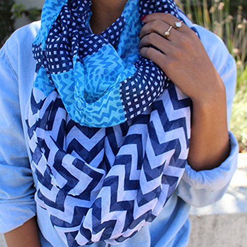 Women's Multi Pattern Blue and Navy Chevron Infinity Scarf with Dots - Pop Fashion - Pop Fashion