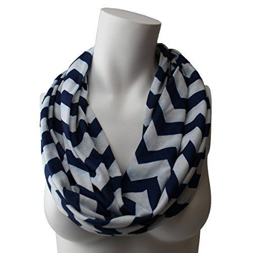 Women's Navy Chevron Patterned Infinity Scarf with Zipper Pocket - Pop Fashion