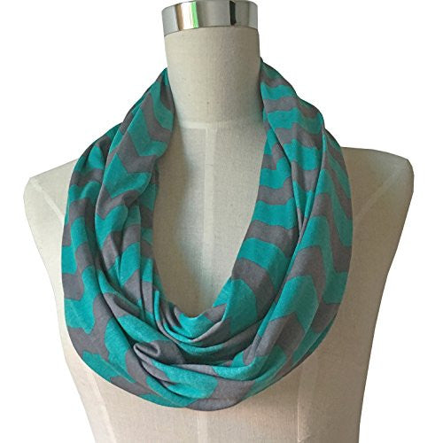 Women's Turquoise/Gray Chevron Patterned Infinity Scarf with Zipper Pocket - Pop Fashion