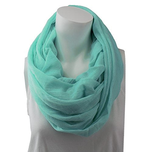 Women's Solid Mint Frayed Luxury Infinity Scarf