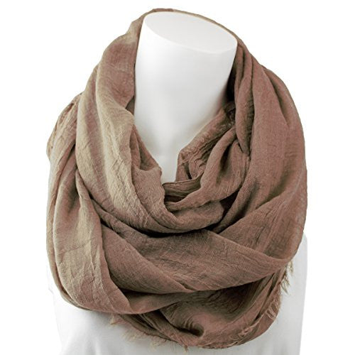 Women's Solid Mocha Frayed Luxury Infinity Scarf - Pop Fashion