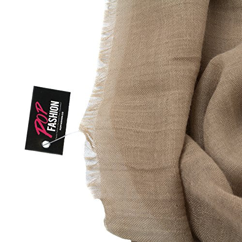 Pop Fashion Womens Infinity Lightweight Scarf Solid Color Scarf with Frayed Edges - Pop Fashion