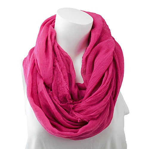 Women's Solid Hot Pink Frayed Luxury Infinity Scarf