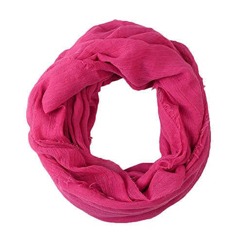 Women's Solid Hot Pink Frayed Luxury Infinity Scarf - Pop Fashion