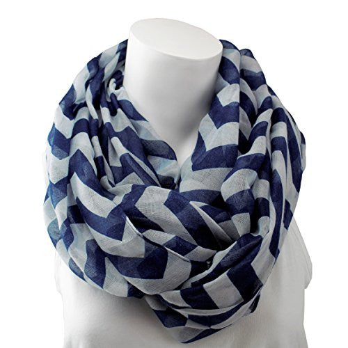 Women's Blue Chevron Patterned Infinity Scarf - Pop Fashion