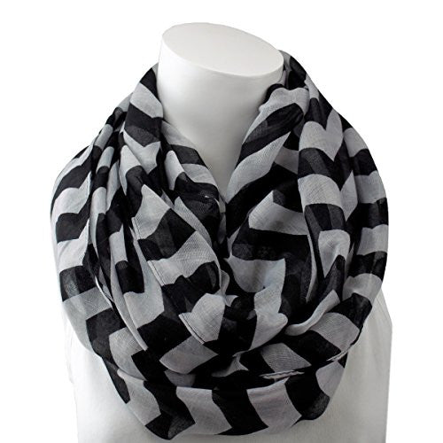 Women's Black Chevron Patterned Infinity Scarf - Pop Fashion
