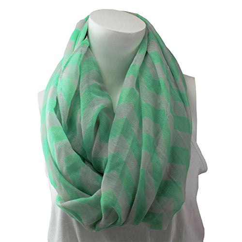 Women's Mint Chevron Patterned Infinity Scarf