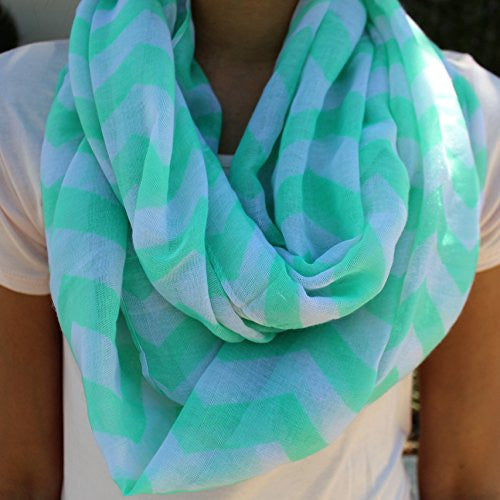 Women's Mint Chevron Patterned Infinity Scarf - Pop Fashion