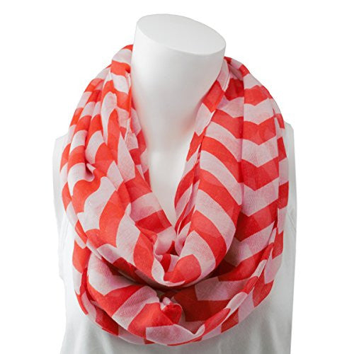 Women's Hot Red Chevron Patterned Infinity Scarf
