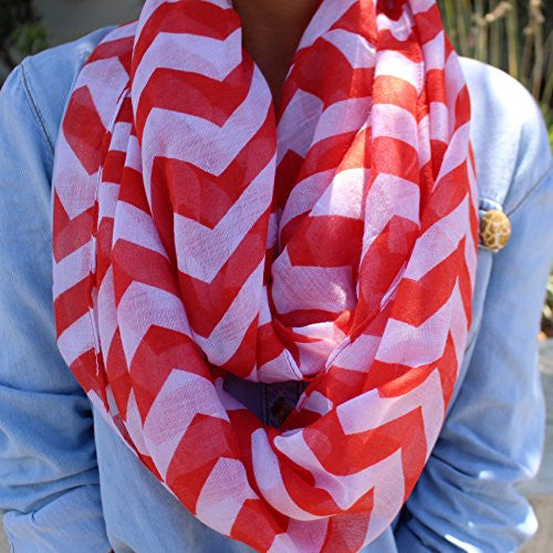 Women's Hot Red Chevron Patterned Infinity Scarf - Pop Fashion