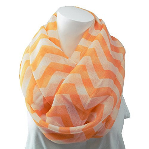 Women's Coral Chevron Patterned Infinity Scarf