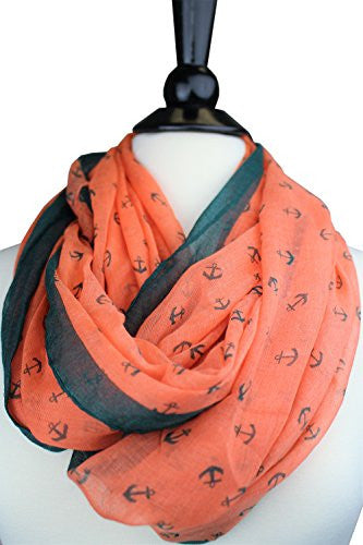Pop Fashion Women's Two Toned Orange&Army Green Anchor Print Infinity Scarf