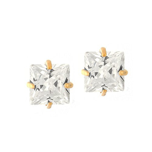 14K Gold Plated Earrings, Square Princess Cut Stud Earring, CZ Earrings with Posts, Women Jewelry
